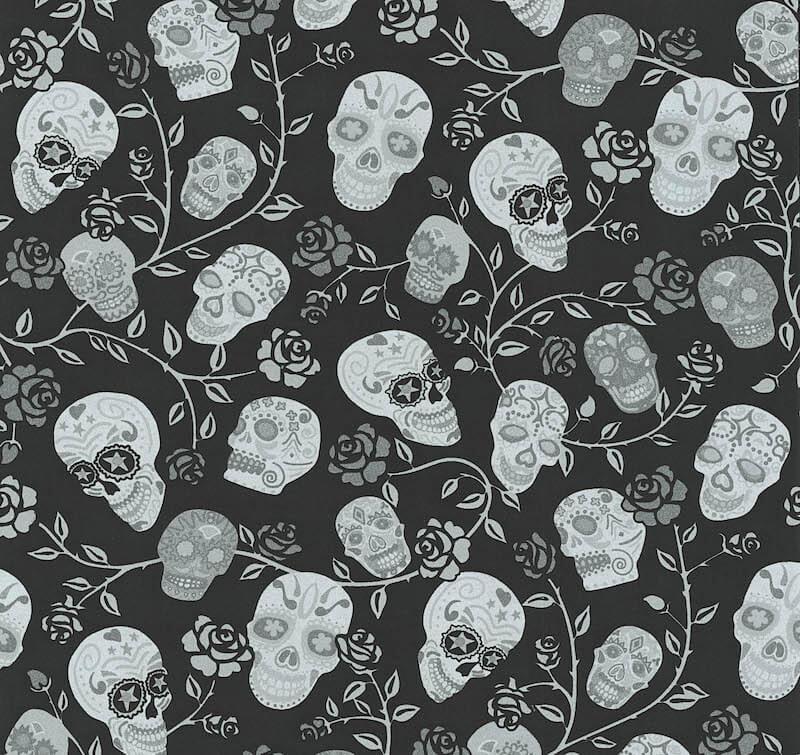 mønstret tapet Tapet skulls sort 1338310 | Tapet og Kunst mønstret tapet