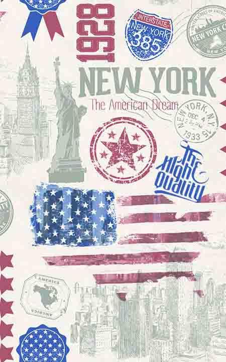 Selvklæbende folie med Frihedsgudinden i New York , Texas stjerne amerikanske flag skilt med Interstate