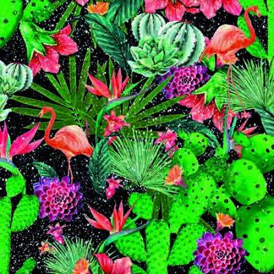 Selvklæbende folie i kraftig lakkvalitet. med farverige store grønne blade og orangefarvet flamingoer