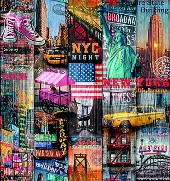 Selvklæbende folie Manhatten med billeder af Frihedsgudinden , Empire State Building, New York taxa, New York bridge, Amerikanske flag