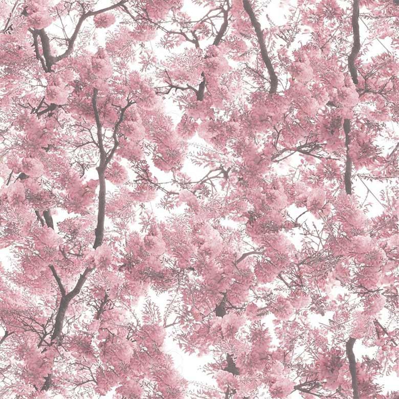 tapet med grene og lyserøde blade