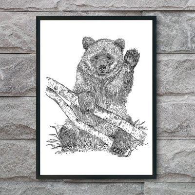 plakat med bjørn der vinker
