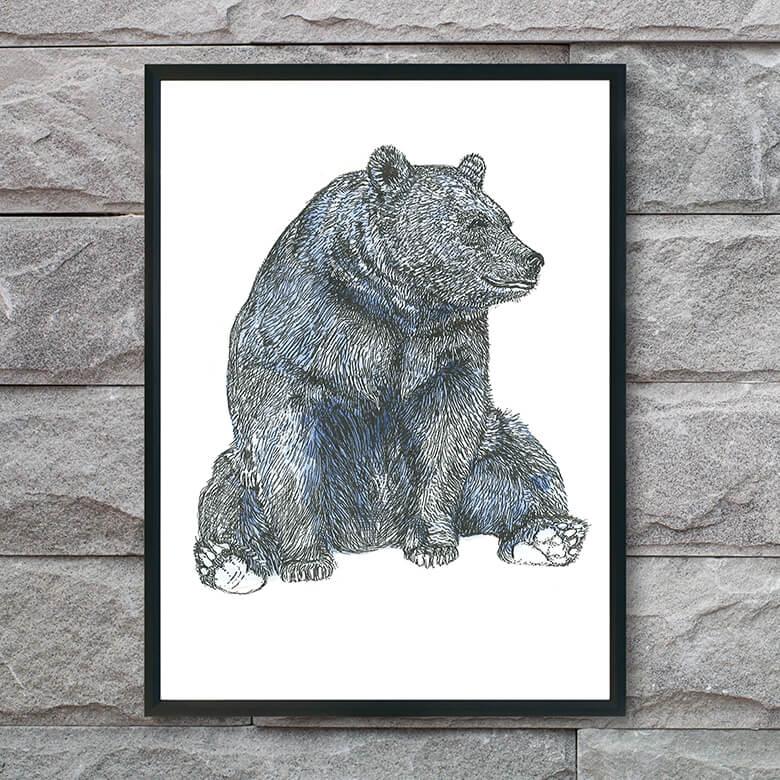plakat-med-blå-bjørn-interiør