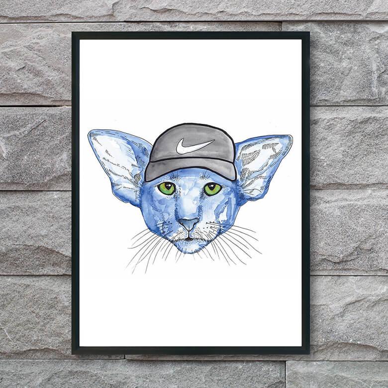 plakat-med-blå-kat-og-kasket