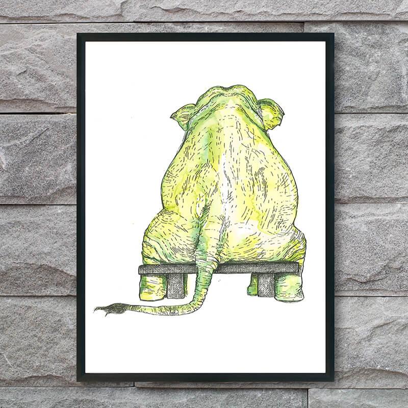 plakat-med-grøn-elefant-på-baenk-int2