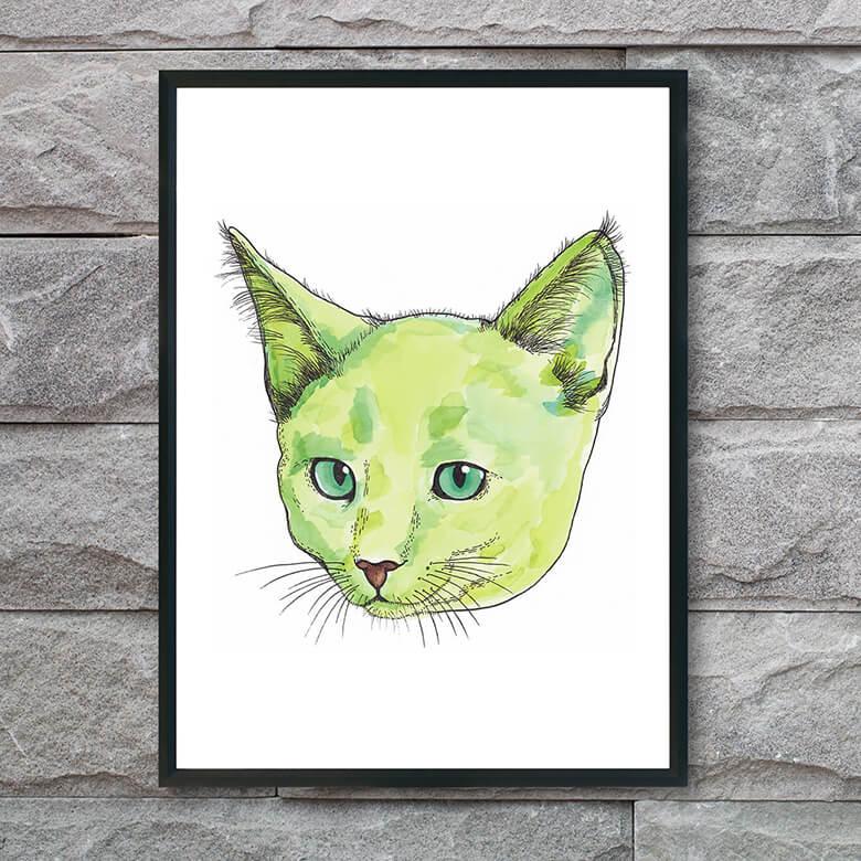 plakat-med-grøn-kat