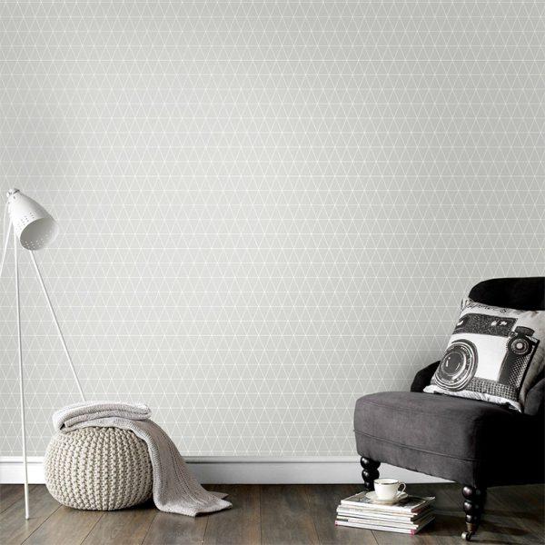 Retrotapet med trekanter i grå og hvid