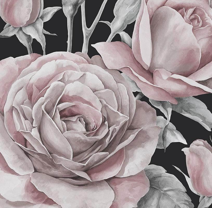 fototapet med lyserød rose