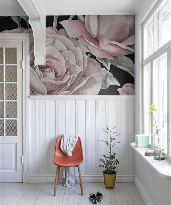 fototapet-med-lyserød-rose