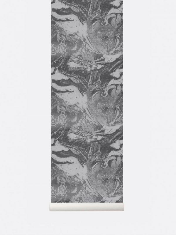 Ferm Marbling Wallpaper - Charcoal