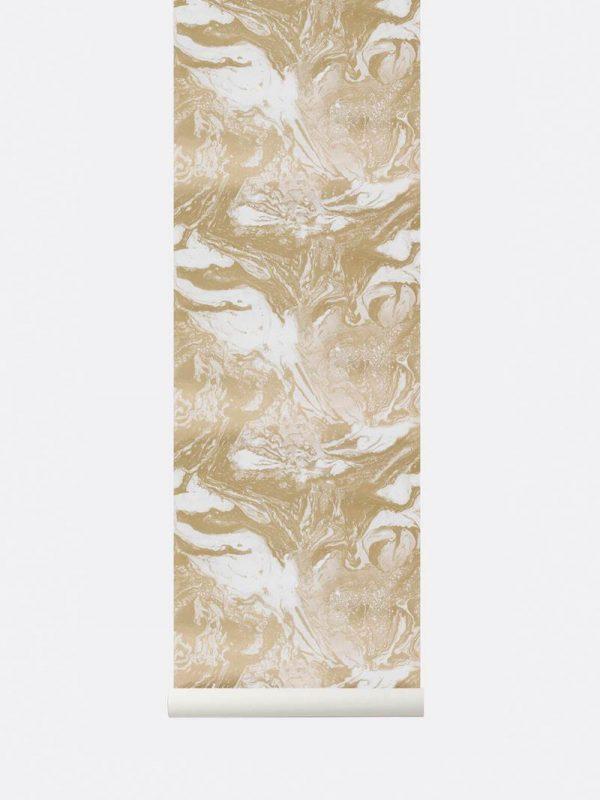 Ferm Marbling Wallpaper - Gold