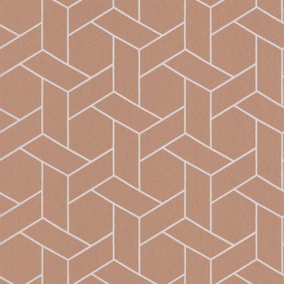 Tapet med hvidt kassemønster i 3d effekt. Tapetet er lys terracotta