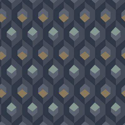Tapet i kubemønster i blå farver og med guldfirkanter og lyseblå glimmer firkanter. Bundfarven er mørkeblå