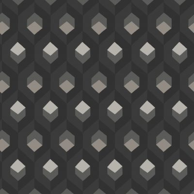 Tapet i sort med kubemønster i mørkegrå og med firkanter i grå glimmer og firkanter i broncefarvet