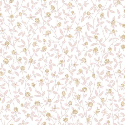 Tapet med ranker af blomster med rosafarvet blade og knopper af guld