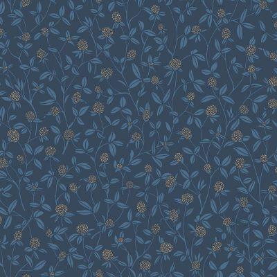 Tapet med mørkeblå bund og små blomster som støvbolde i guld
