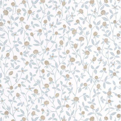 Tapet med lyseblå ranker af blomster med støvbolde af guld. Tapetets bund er hvid