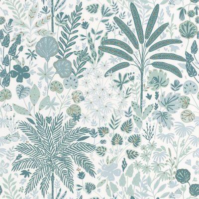 Tapet med plalmer og blade. Tapetets bund er hvid, med palmer og blade i turkise farver, dekoreret med guldstrejf