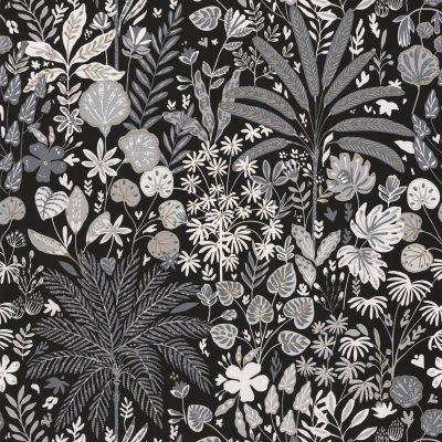 Tapet med sort bund, og palmer og blade i grå farver, med guld stænk
