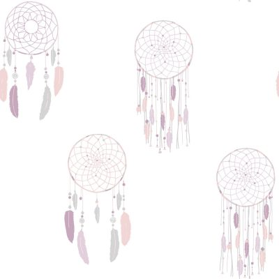 Tapet med drømmefanger i lilla og sølvfarvet