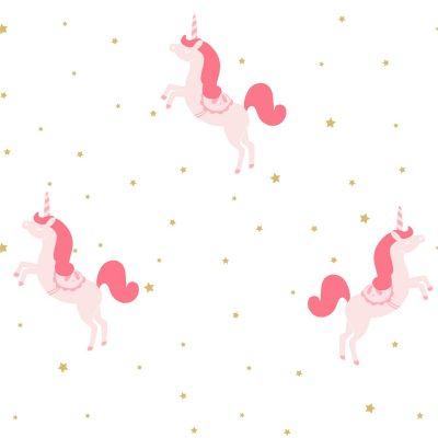 Tapet med lyserød enhjørning med mørkere rød glimmer manke og hale. hvid bund og med små guldstjerner
