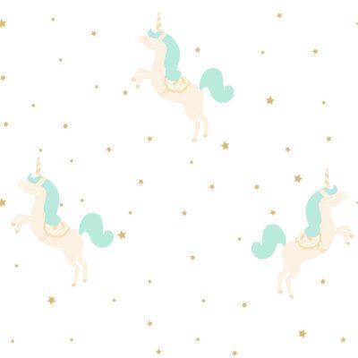 Tapet med enhjørning i beige med turkis hale og manke med masser af turkis glimmer. Tapetet har en hvid bund og med guldstjerner