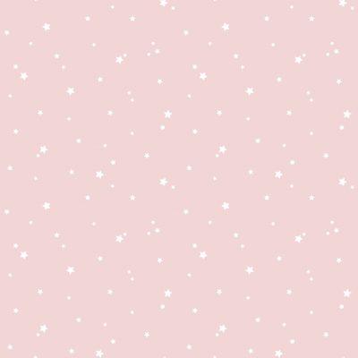 Tapet med lyserød bundfarve og hvide prikker. Smart tapet til f.eks. som tapet til at mache til mønstret tapet