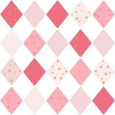 Tapet med harlekin mønster i 4 lyserøde farver, med guldstjerner og hvid bund