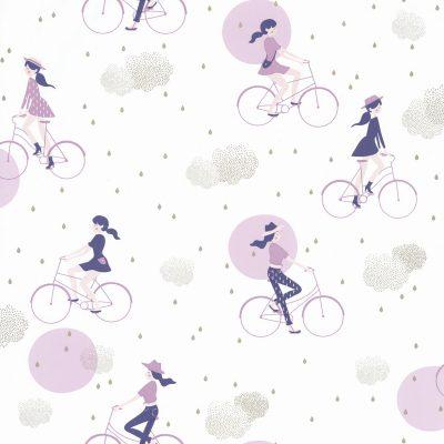 Tapet med piger på cykler i lilla farver samt skyer og regndråber i guld