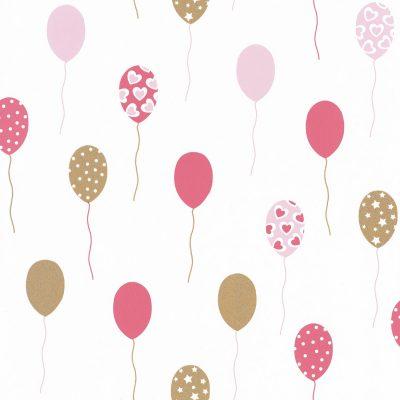 tapet med balloner på i ensfarvet pink,balloner med ophøjet glimmer og hvid bund