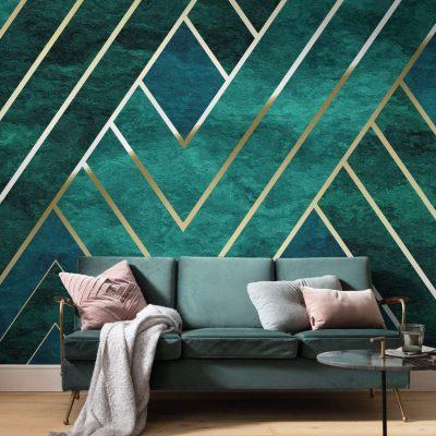 fototapet Artdeco kæmpe grønt mønster
