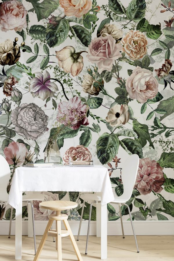 fototapet i vlies kvalitet, romance med store romantiske blomster.