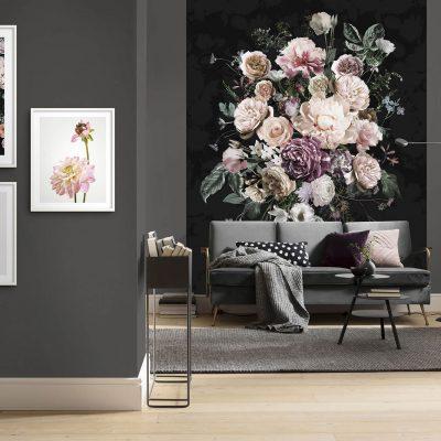 Fototapet Charming super hyggelig med store blomster og sort bund