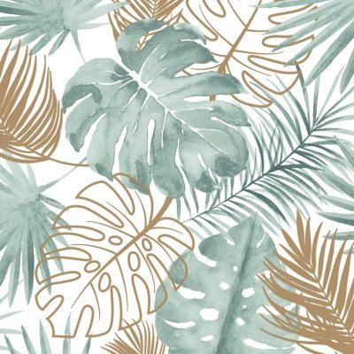 tapet med flotte grønne og gyldne blade med hvid bund