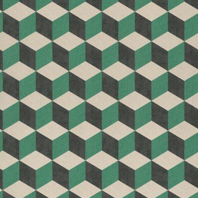 tapet i kubemønster med 3d effekt i grøn, meget mørk skiftergrå og beige farve