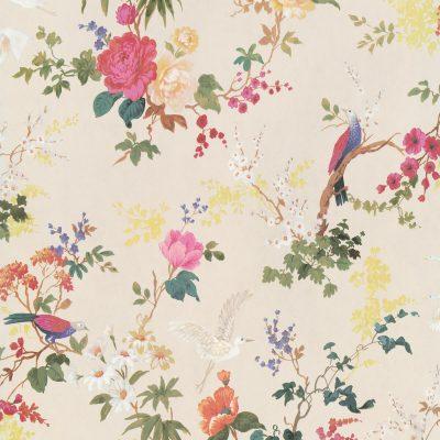 cremefarvet tapet med pinkfarvet og grøngule og orange blomster og små fugle