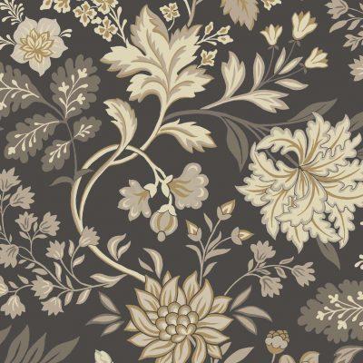 Tapet fra Borås kollektion Beautiful Traditions tapet Alicia 6702, meget mørk gråblå bund med blomster tegnet op med guld og i grå og beige farver