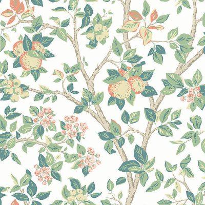 boråstapet fra kollektionen falsterbro lll ingrid marie 7650 blomster og æbler i støvet brunrosa og gulbeige farver og grene med lyse og mørkegrønne blade