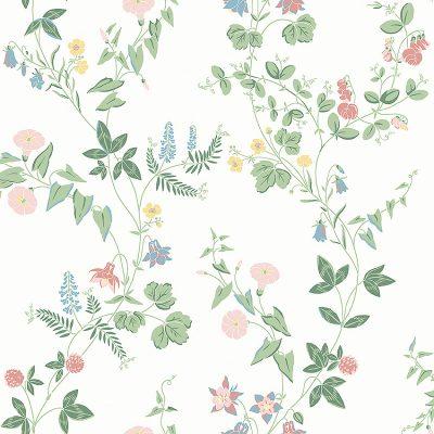 romantisk tapet fra borås og kollektionen falsterbo lll midsummer 7680 med hvid bund og tynde blomsterstængler i grønne farver og med rosa og lyseblå blomster