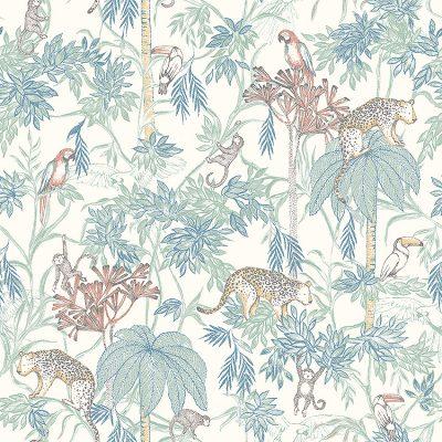 Newbie børnetapet wild jungle med aber, papegøjer og leoparder kravlende i palmer og træer.Tapetets bundfarve er offwhite og med blågrønne palmer og træer