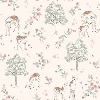 børnetapet fra kollektionen newbie og fra fabrikken borås deer love 7473 et lyst tapet med hjorte, træer og blomster