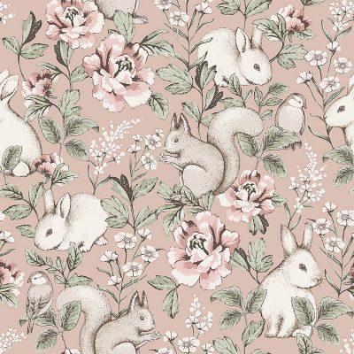 borås tapet Newbie magic forest 7476 fin tapet med rosafarvet bund og med sandfarvet egern, hvide kaniner, og fugle samt grene og blomster