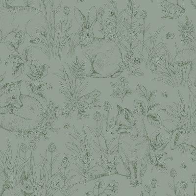 børnetapet fra newbie kollektionen fra borås forest friends 7477 grøn bundfarve og stregtegninger i mørkegrøn af harer, frø, grævling, snegl, mariehøne, ræv, og pindsvin