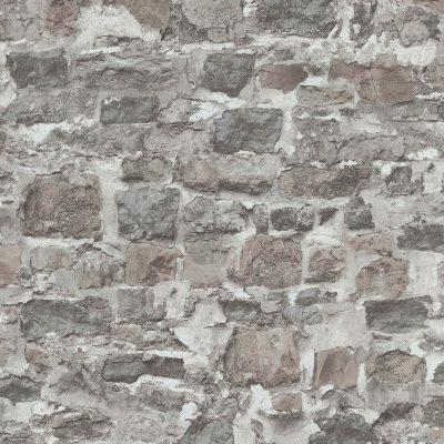 Murstenstapet i flere forskellige grå og brune nuancer. Tapetet har et råt udseende