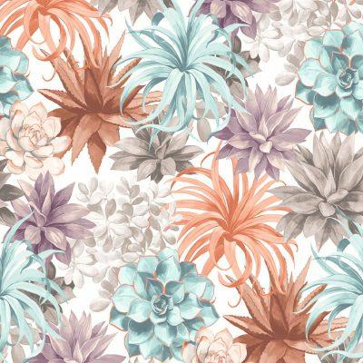 tapet casadeco botanica echeveria med sukkulenter og blomster i terracotta - turkis- lilla brun og beige farver
